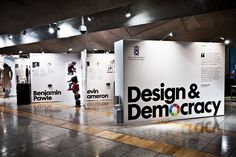 Scottish Parliament  Design & Democracy exhibition showcasing graduate work from Scotland's four art schools. Designed at Stand, by Colin Bennett #graphics