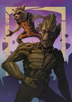 Guardians of the Galaxy - Groot and Rocket Raccoon by Matt Haworth
