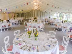 This is a beautiful example of using pastel colours to create a classy but colourful look inside the marquee.