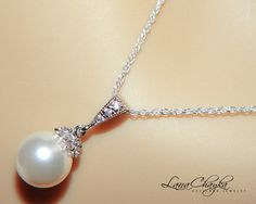 Wedding Bridal Pearl Necklace 925 Sterling Silver by LanaChayka, $30.00