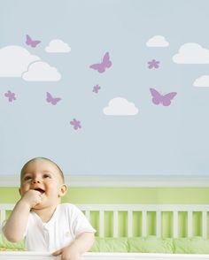Butterflies in the Sky Decal - Children's Vinyl Wall Sticker