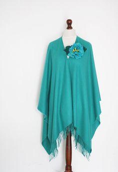Women poncho turquoise poncho women cape cape by KnitwearFactory