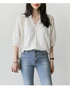 cc0e0d2b09f Half Sleeve Embroidery Hollow Out V-Neck Floral Office White Shirt
