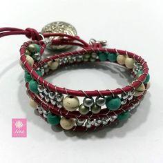 ¡Estamos a mitad de semana y amaneció nublado pero que eso no nos impida brillar! (y) - Leather Wrap Bracelet with Czech Crystals - www.neacreations.com  #neacreations #jewelry #bracelet #bracelets