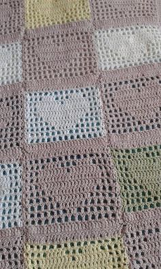 Baby blanket made by adapting the crochet filet heart square pattern to one complete thing with an edging of crab stitch. - Buscar con Google
