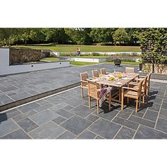 Marshalls Natural Slate Riven Midnight Blue 295 X 295 X 20mm Paving Slab    Pack Of 100
