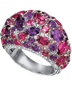 CELLINI-Aurora Dome Ring Amethyst and Pink Tourmaline Dome Ring Fancy shaped amethysts and pink tourmalines, interspersed with round brilliant-cut diamonds, and edged with rows of diamonds; in 18-karat white gold.