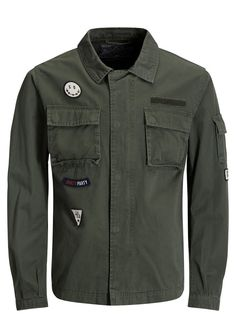 Military green field jacket, 100% cotton, with patch details   JACK & JONES #thyme