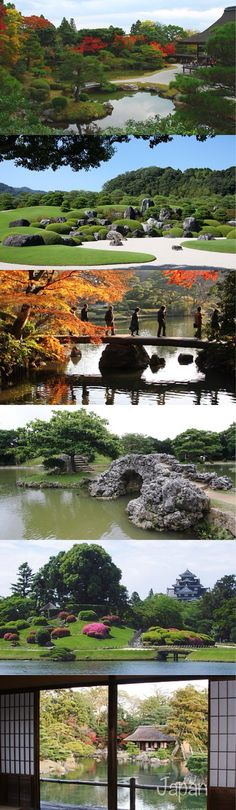 Japanese gardens utilize elements such as ponds, streams, islands and hills to create miniature reproductions of natural scenery. The following are some of the most commonly employed elements
