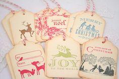 Beautiful Vintage inspired #Christmas Tags Holidays  via Etsy.
