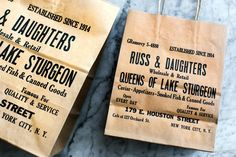 Kelli Anderson's excellent rebrand of Russ & Daughters, including re-creation of old mismatched type shopping bag