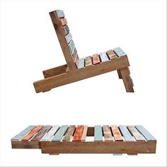 Simple garden or deck chair that converts to flat storage... made from old wood pallet