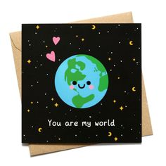 You Are My World Card, I Love You Card, Anniversary Gift, Planet Earth Illustration Canvas Painting Quotes, Simple Canvas Paintings, Cute Paintings, Diy Painting, Mini Canvas Art, Diy Canvas, Boyfriend Canvas, Kino Box, Drawings For Boyfriend
