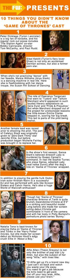 Game of Thrones Cast. I knew 4 5 6 & 10! That one is so cool about Tonks being in About A Boy I totally remember that now! Why was she so bad at being Tonks? She kicks ass in GOT!