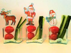 Kerstdiner school, dip komkommer tomaat