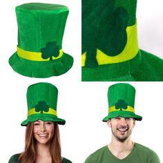 Large Green Plush Leprechaun Top Hat With Orange//White Beard Costume Accessory