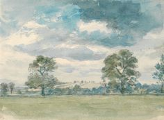 Lionel Constable, 1828-1887, British Title Summer Landscape Alternate Titles Verso: Study of Sheep and Landscape study Date ca. 1825 Medium Watercolor and graphite on medium, moderately textured, cream wove paper