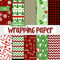 This Wrapping Paper Christmas Digital Paper set is fun, festive, and easy to print from home. Use in traditional scrapbooking, digital scrapbooking,