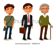 cartoon characters showing age progress - a young boy, adult businessman and senior man