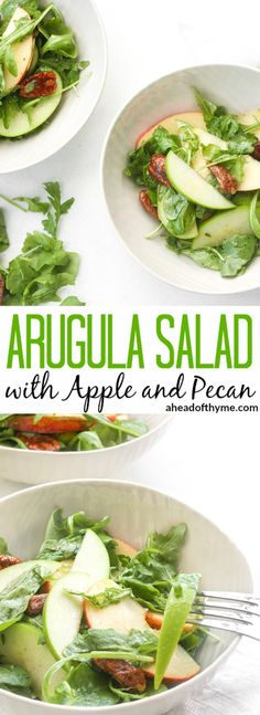 Arugula Salad with Apple and Pecan: The best fall ingredients come together in this arugula salad with apple and pecan, just in time for an appearance on your holiday table this year! | aheadofthyme.com via @aheadofthyme