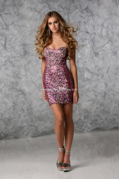Strapless Sweetheart Bodycon Homecoming Prom Spring 2013 Sequined Animal Print Cocktail  Dress