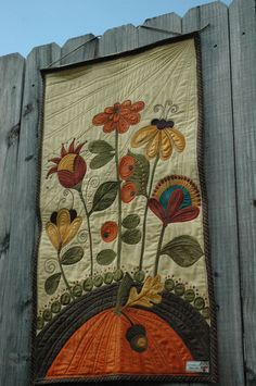 Thanksgiving Wall Hanging - Heavily Quilted - Fall Decor -