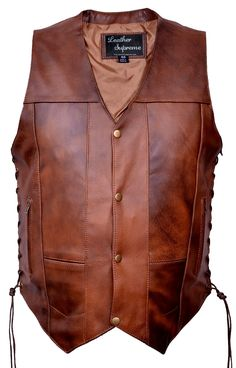 Leather Supreme Men's Ten Pocket Concealed Carry Retro Brown Buffalo Hide Leather Vest With Removable Holster-Brown-40