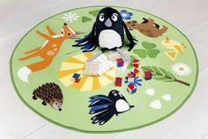 "Meri Mort, Helsinki, Finland based illustrator for Vallila Interiors ""Mimmit"" fabric collection 2015 - a rug for children's room. Kids Rugs, Helsinki, Finland, Fabric, Interiors, Illustrations, Design, Collection, Studio"