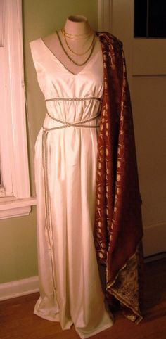 """The waistband (sort of)! Make a short dress w/jumpsuit pattern. Sew on wide sash (alternate colors front/back) and wrap like the """"Greek Goddess"""" look."""