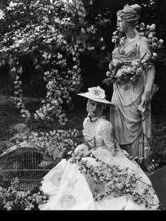 """Tilly Losch at Beaton's home Ashcombe, 1932. """"A friend arriving from America was startled to find Miss Tilly Losch, dressed as a Meissen shepherdess posturing among a flock of sheep"""".  (Extract from Ashcombe: The Story of a Fifteen Year Lease by Cecil Beaton)"""