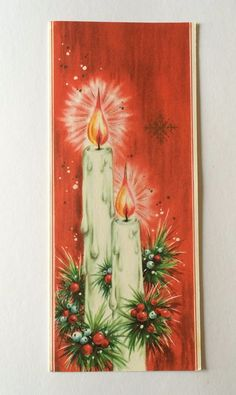 Vintage Candles with Mistletoe Berries Christmas Greeting Card | eBay