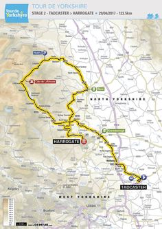 Tour de Yorkshire 2017 single stage. Competitive cycling route through Harrogate, Knaresborough, Tadcaster, Pateley Bridge, Brimham Rocks, Lofthouse. Stunning scenery for a cycle event.