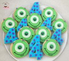 Monsters inc cookies, sulley cookies, mike cookies