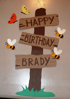 Customizable Winnie the Pooh or Western Happy Birthday Sign