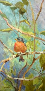 """Deanna's Paintings: Bird Oil Painting """"The Perfect Perch II"""" by Georgi..."""