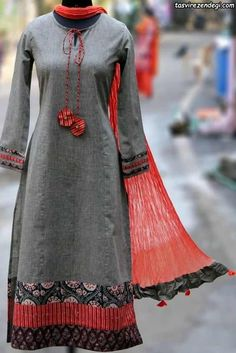 Buy Maati Crafts Gray Cotton Printed Anarkali Kurti online in India at best price.this is a stanza kurta, a poetic form that has 3 lines! this kurta can be teamed with straight pants, Salwar Designs, Kurti Neck Designs, Blouse Designs, Pakistani Dresses, Indian Dresses, Indian Outfits, Indian Attire, Indian Wear, Indian Fashion