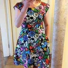 This is a special one. A By Hand London Anna Dress in Alexander Henry Street Skull fabric. Fabric is from Fabric Yard. By Hand London, Skull Fabric, Anna Dress, Alexander Henry, Yard, Summer Dresses, Street, How To Make, Fashion