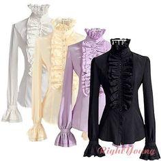 Victorian Womens Long Sleeves Tops Fashion High Neck Frilly Ruffle Shirt Blouse   eBay