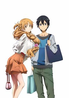 Asuna and Kirito, Sword Art Online, official art Sao Kirito And Asuna, Kirito Sword, Sword Art Online Kirito, Otaku Anime, Sao Anime, Manga Anime, Kunst Online, Online Art, Desenhos Love