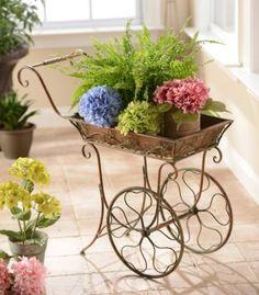 Antique Bronze Cart Plant Stand