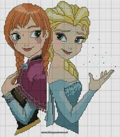 Schema punto croce elsa e anna frozen kjenna borduren frozen Frozen Cross Stitch, Cross Stitch For Kids, Cross Stitch Baby, Cross Stitch Charts, Cross Stitching, Cross Stitch Embroidery, Embroidery Patterns, Disney Stitch, Disney Cross Stitch Patterns