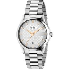 Gucci YA126442 Unisex Stainless Steel Bracelet Strap Watch (2,570 PEN) ❤ liked on Polyvore featuring jewelry, watches, unisex watches, unisex jewelry, gucci, leather-strap watches and polish jewelry