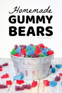 These delicious Homemade Gummy Bears are the perfect homemade candy treat! 1 Box Flavored Jello (A typical box is 2 Packets Unflavored Gelatin Cup Water Cup Cornstarch pouch is about 2 teaspoons Jello Flavors, Jello Dessert Recipes, Candy Recipes, Sweet Recipes, Homemade Gummy Bears, Homemade Gummies, Homemade Candies, Jello Gummy Bears, Best Gummy Bears