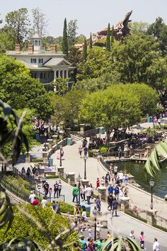 Disneyland:  Gorgeous view of New Orleans Square, the Haunted Mansion with Splash Mountain in the background.  From Micechat.com