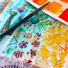 watercolor and stencils Stencils, Cinderella, Scrapbooking, Journal, Watercolor, Ideas, Kuchen, Water Colors, Art Rooms