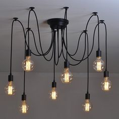LUSTRE ET SUSPENSION 6 tªte E27 rétro Loft industriel suspendu