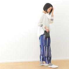 タック入りサーカスパンツの製図・型紙と作り方 | nunocoto fabric Linen Pants, Sewing Clothes, Striped Pants, Skirts, Fabric, Pattern, Inspiration, Style, Fashion