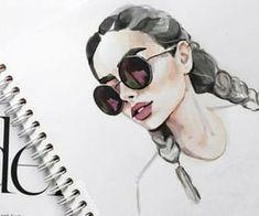 Watercolor girl in sunglasses portrait - - - Aquarell Malen Watercolor Girl, Watercolor Portraits, Watercolour, Watercolor Paintings Tumblr, Girl Tumbler, Art Sketches, Art Drawings, Art Et Design, Arte Sketchbook