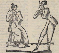 Xilografía en cabecera de una mujer sentada con un abanico y un hombre con sombrero, que se inclina ante ella.