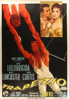 Trapeze (1956) starring Gina Lollobrigida, Burt Lancaster  Tony Curtis — Italian Film Poster